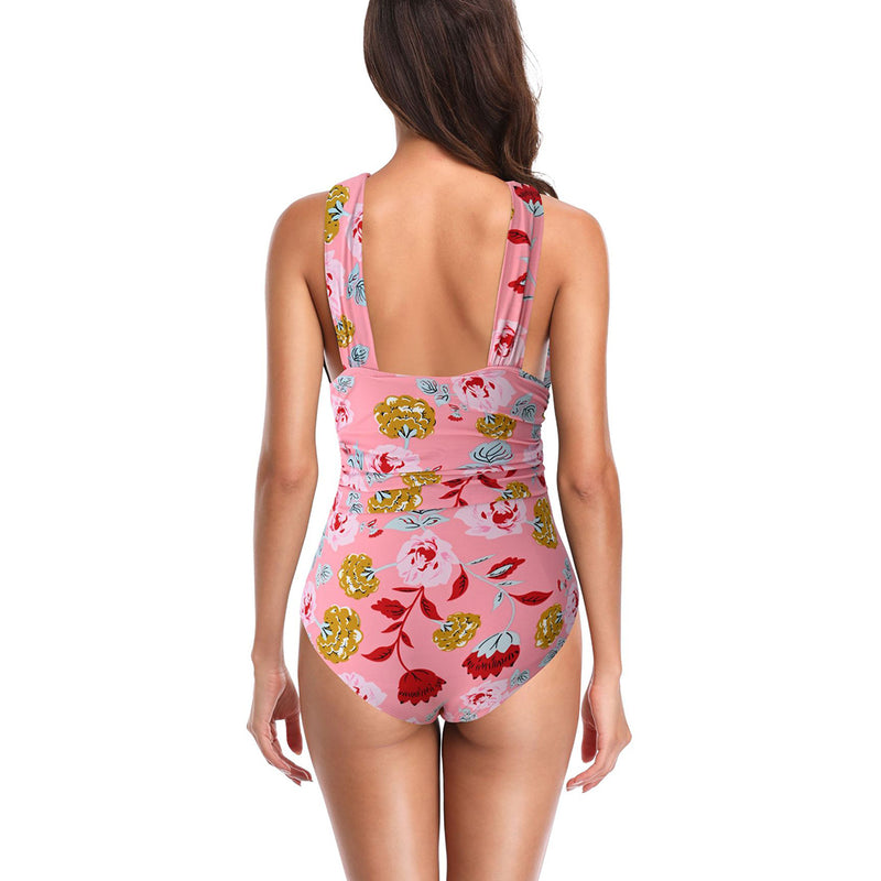 Women Vacation Sand Beach Print One Piece Swimsuits