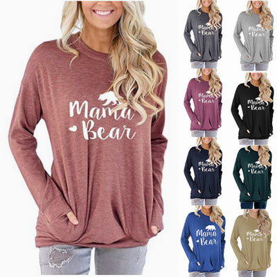 Women Mama Bear Printed Sweatshirt Long Sleeve T-Shirt with Pockets