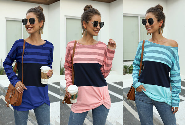 Pin Hot Round neck Three Sections Splicing Knot Top T-shirt