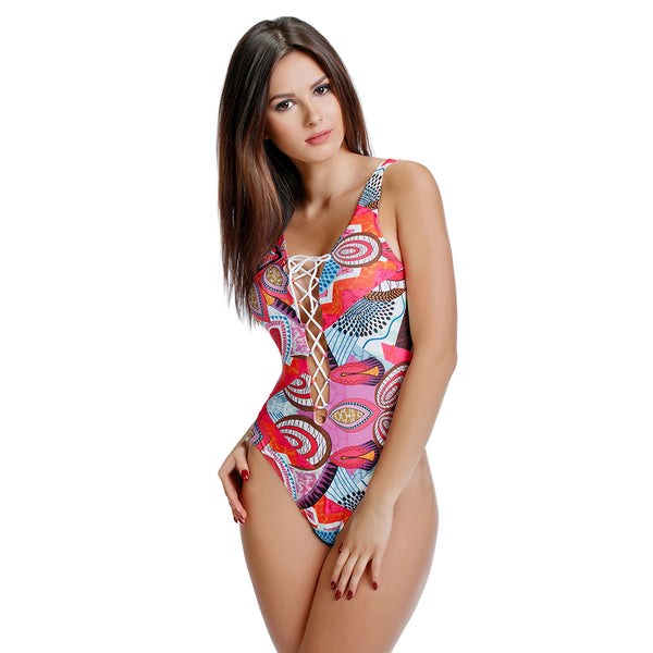 Women Animals Print One Piece Swimsuit Criss Cross Monokini Bathing Suit