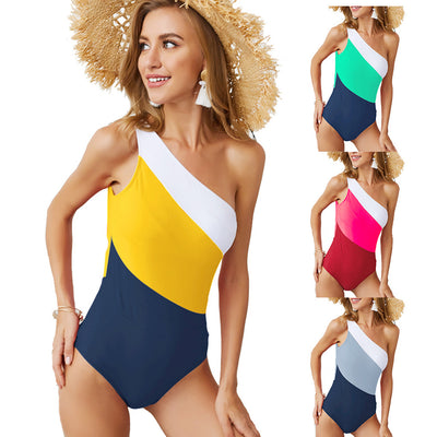 Women Sexy One Shoulder Contrast Color Backless One Piece Swimsuit