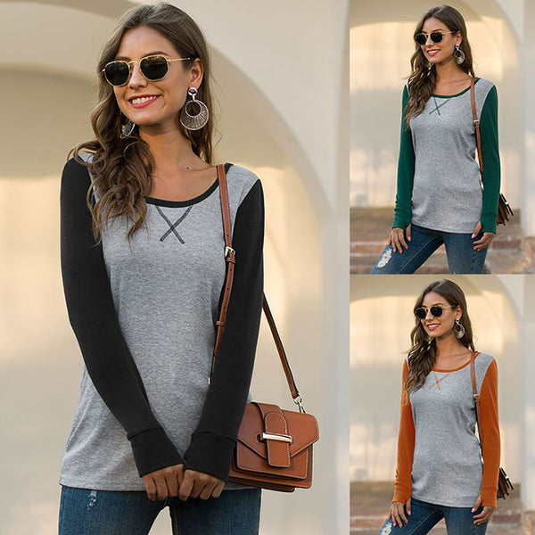 Pin Hot Round Neck Finger Hole Raglan Sleeve T-shirt