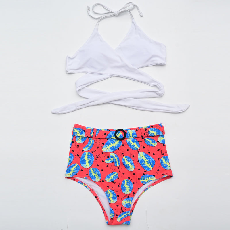 Women Floral Print High Waist Swimming Suits Two Piece Bikini Set