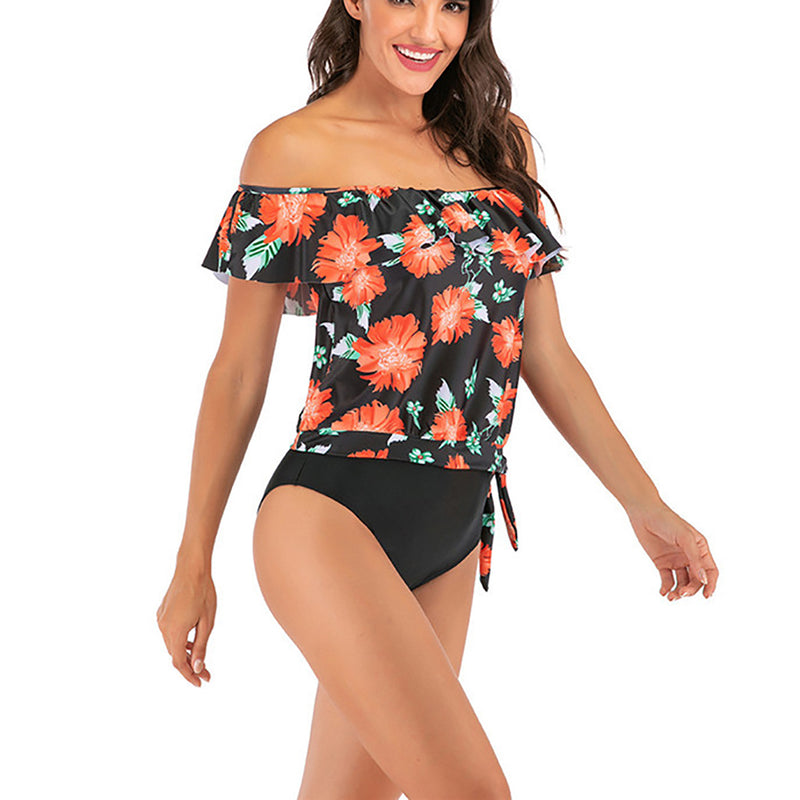 Women  Off the Shoulder Swimsuit Print High Waist Two Pieces Bikini Set