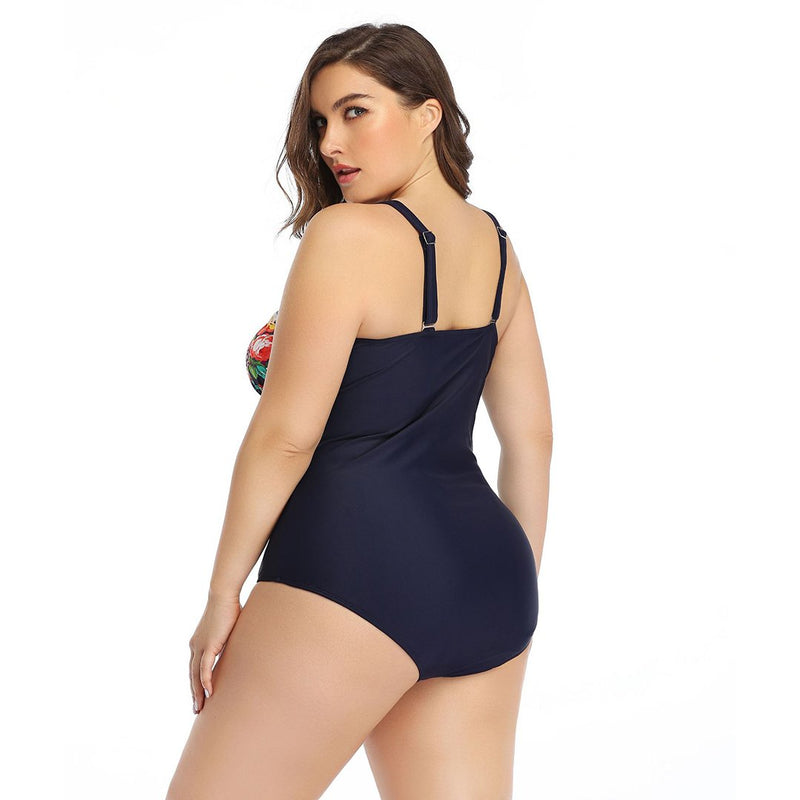 One Piece Swimsuits Print Plus Size Swimdress