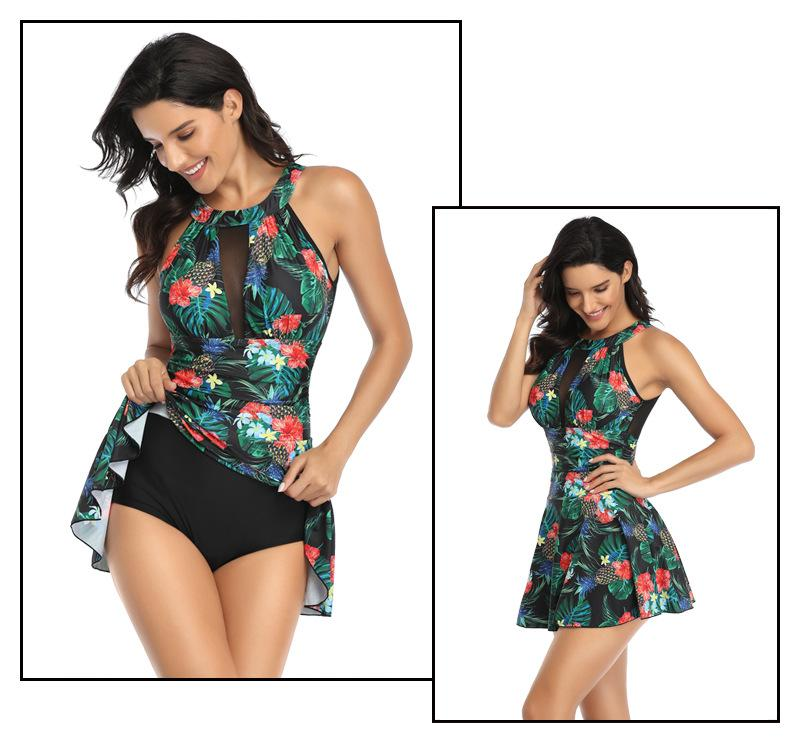 Mesh Ruched Swimdress Printed Tummy Control One Piece Swimsuits