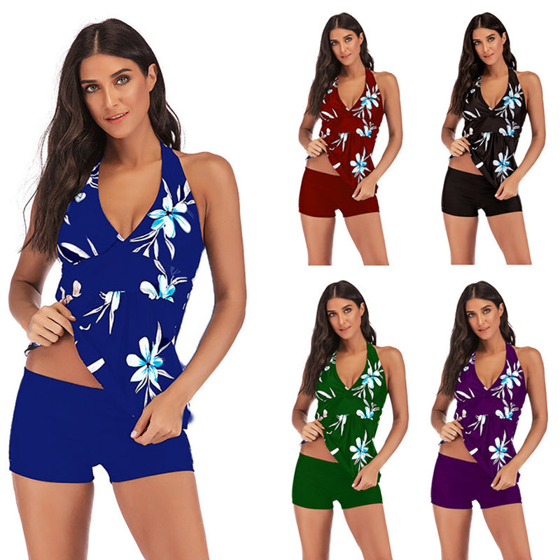 Womens Conservative Swimwear Print Two Piece Slim Tankini Swimsuit