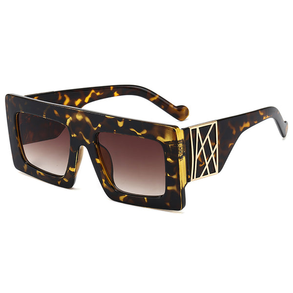 Retro Leopard Square Frame Sunglasses