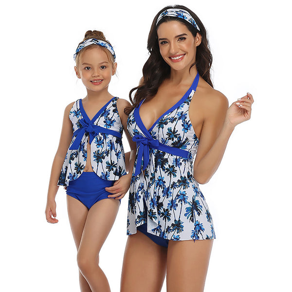 Women's Swimsuit Family Matching Mom Girls Bathing Suit Mommy and Me Swimwear Tankini Set
