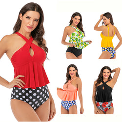 Women Floral Print Cross Neck Bathing Suits Two Piece Tankini Set