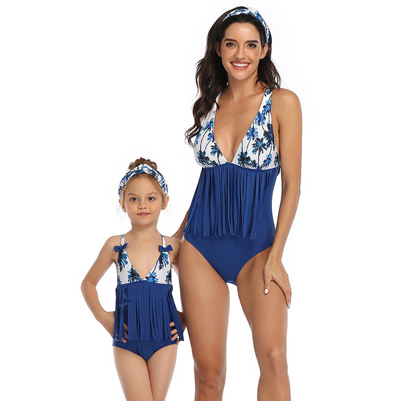 Women's Tassel One Piece Swimsuit Family Matching Mom Girls Bathing Suit Mommy and Me Swimwear