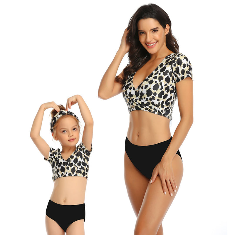 Women's Swimsuit Family Matching Mom Girls Bathing Suit Mommy and Me Swimwear Bikini Set