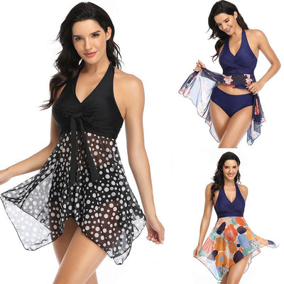 Women Tankini Swimdress Halter Floral Swimsuit Two Piece Swimwear