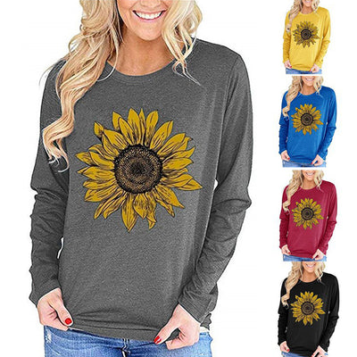 Women Sunflower Printed Crewneck Long Sleeve T-Shirts with Pocket