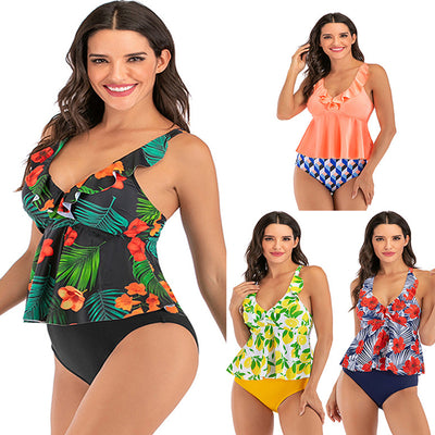 Women Floral Print V-neck Ruffle Bathing Suits Two Piece Tankini Set