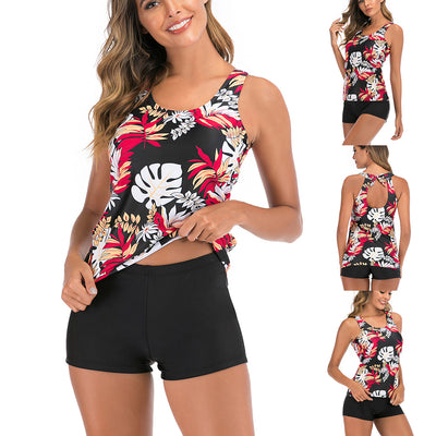 Women Floral Print Slim Swimsuit Tummy Control Two Piece Tankini Set