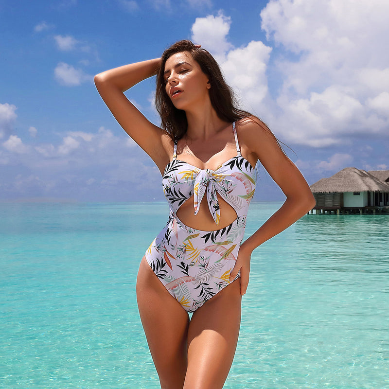 Women Stripe Print Front Knot Halter One Piece Swimsuit