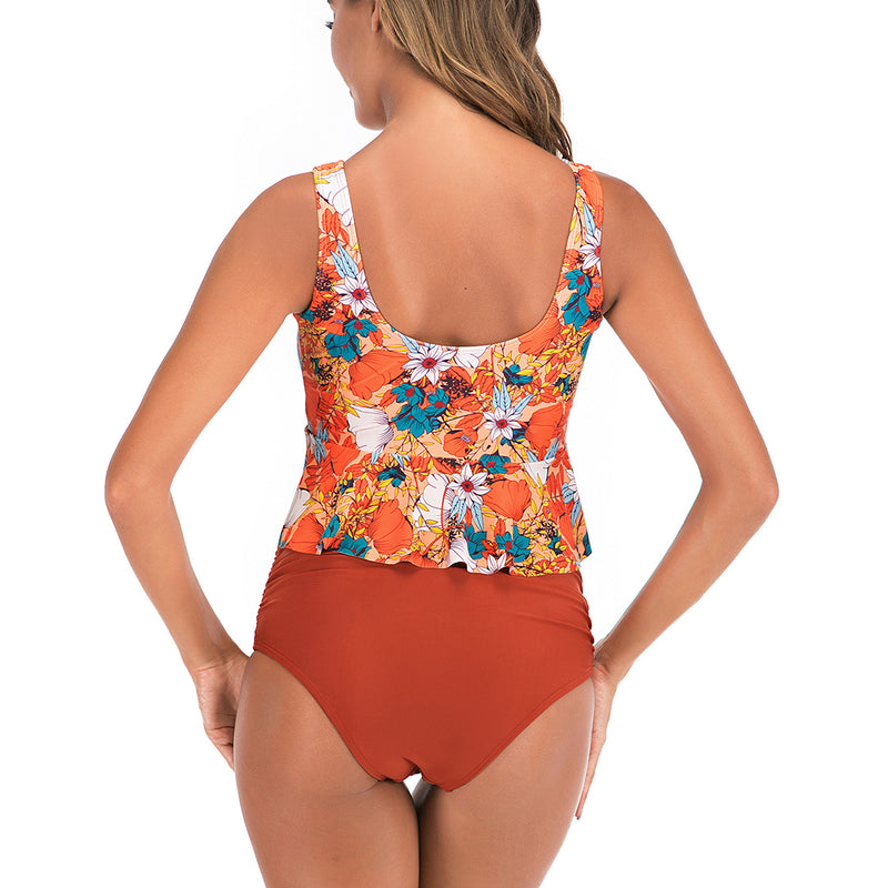 Women Floral Print Hight Waist Swimsuit Two Piece Tankini Set