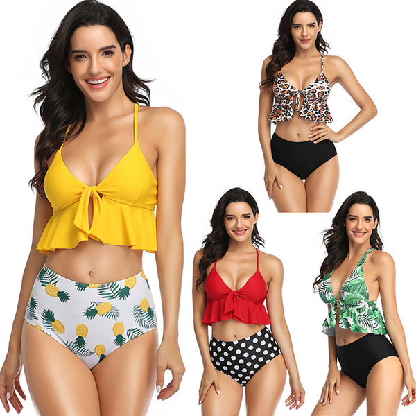 Women Print Bow Bathing Suits Two Piece Bikini Set