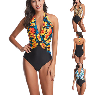 Women One Piece Swimsuit Floral Halter Backless Swimwear