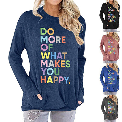 Women Colorful Letters Printed Sweatshirt Long Sleeve T-Shirt with Pockets