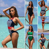 Women Sexy Halter Bandage Print One Piece Beach Swimsuit