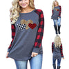Women Round Neck Hearts Print Plaid Long Sleeve T-Shirt