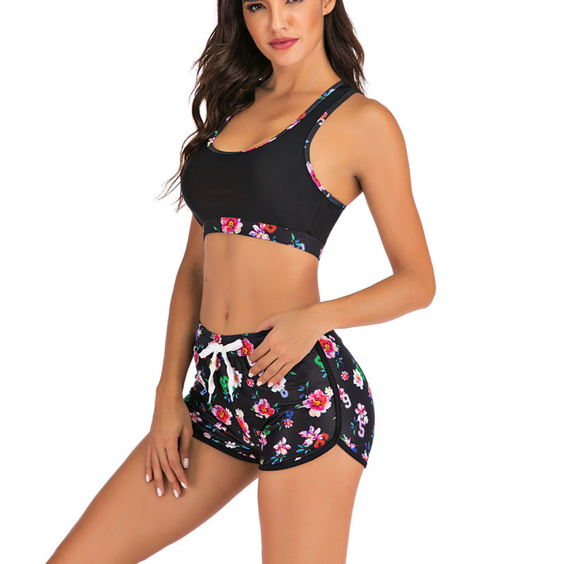 Women Floral Print Conservative Two Pieces Swimsuit Bikini Set