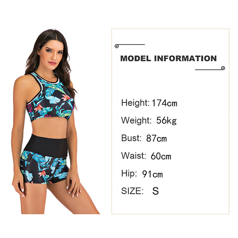 Women Leaves Print Conservative Two Pieces Swimsuit Bikini Set