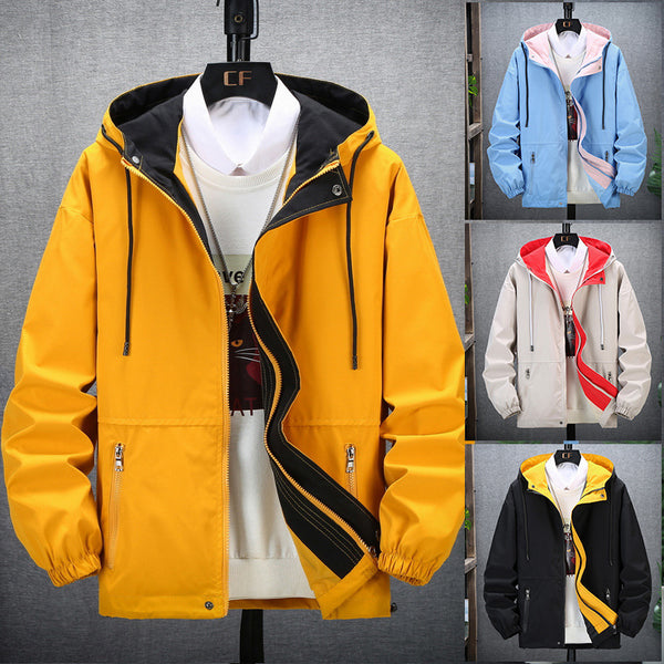 Men's Fashion Hip Hop Windbreaker Outwear Coats Casual Loose Hooded Bomber Jackets