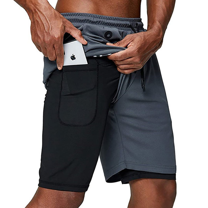 Men's Music 2 in 1 Security Zipper Pockets Quick Drying Running Sport Shorts