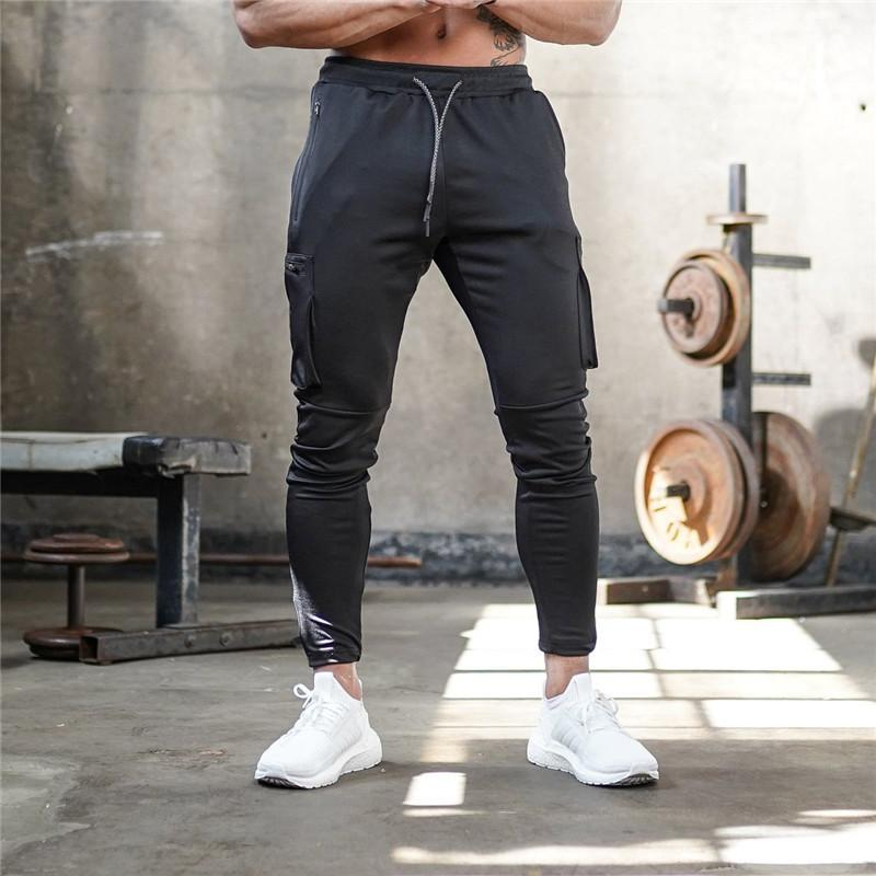Men's Cotton Sweatpants Fitness Training Suit Multi-pocket Jogging Pants