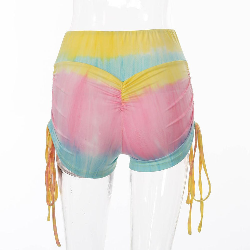 Women's Workout Yoga Shorts, High Waisted Tie Dye Scrunch Booty Shorts