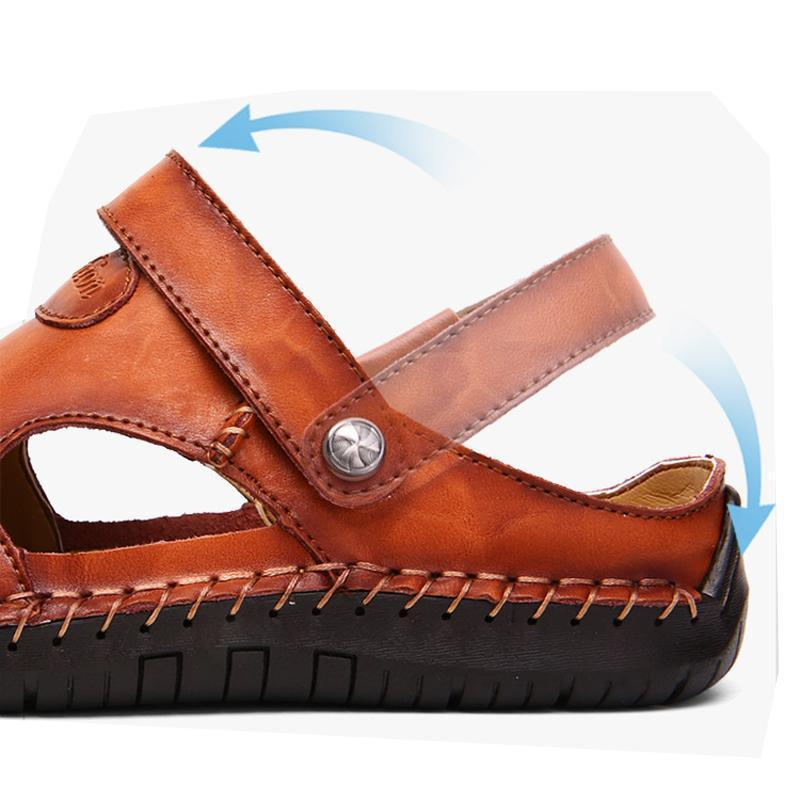 Men Hand Stitching Soft Outdoor Closed Toe Leather Casual Sandals