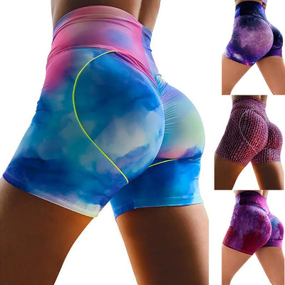 Women Printed Tight Running High-waisted Tie-dye Yoga Shorts