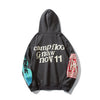 Men Harajuku Fleece Hoodie Hip Hop Hooded Graffiti Letter Print Plus Sweatshirt