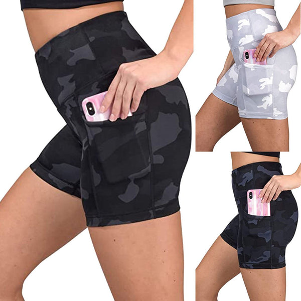 Women High Waist Workout Yoga Gym Camo Shorts with Side Pockets