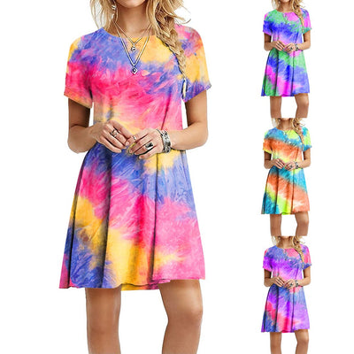 Women Summer Tie-dye Print Gradient Rainbow O Neck Short Sleeve Casual Dress