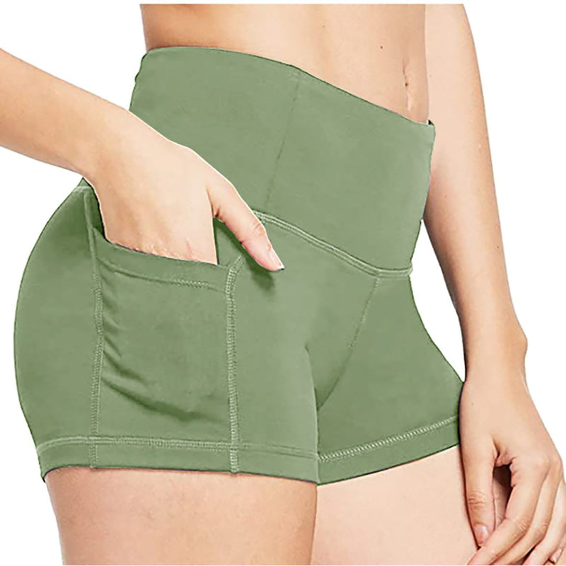 Women's High Waist Workout Yoga Running Compression Exercise Shorts Side Pockets