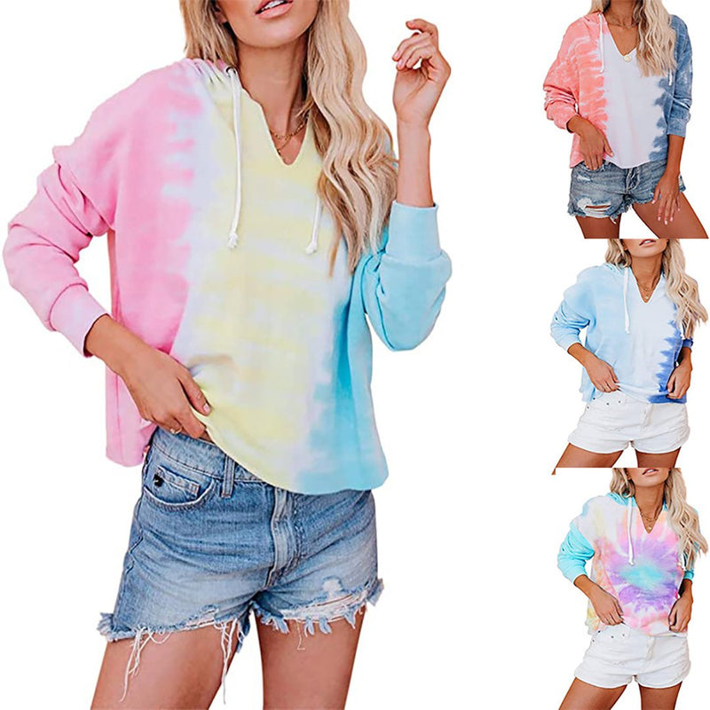 Women's Tie-Dye Hooded Loose Gradient Long-Sleeved Sweatshirt