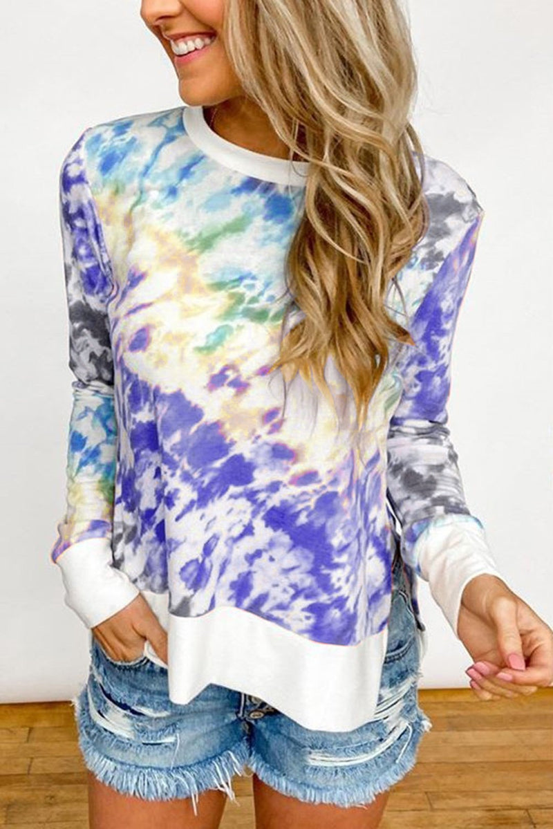Women Tie-dye Gradient Printed O-Neck Long Sleeve Casual T-shirts