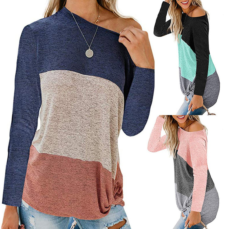 Women Striped Knot Cotton Tops O-neck Long Sleeve T-shirt