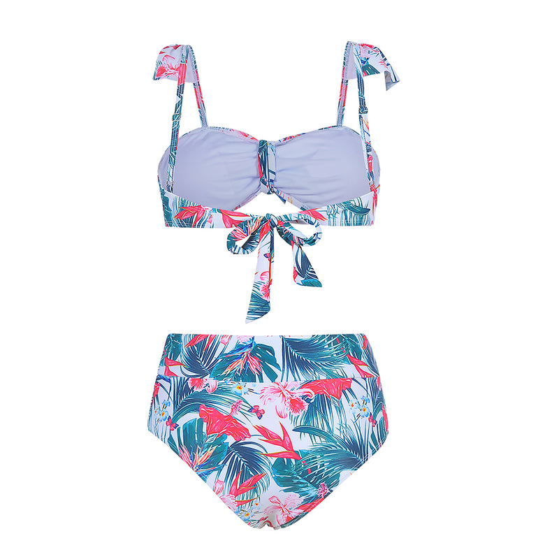 Women Digital Print Bowknot High Waist Bikini Set