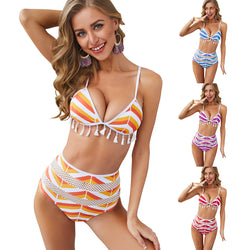 Women Mesh Stripe Tassel Trim High Waist Bikini Set