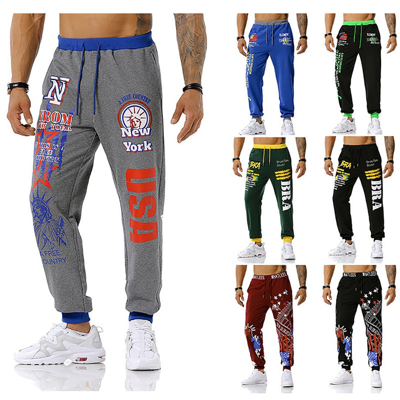Men's USA Printed Joggers Outdoor Sports Fitness Football Training Track Pants