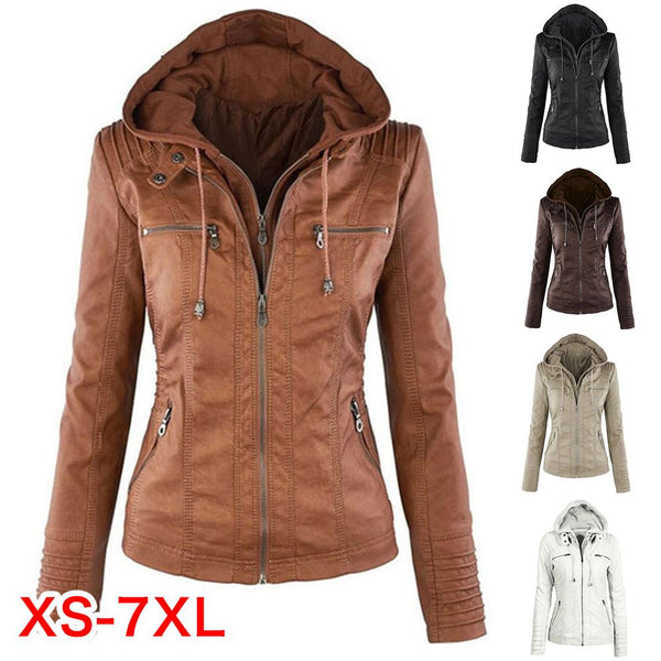 Instagram Hot Fashion Faux Leather Jacket with Detachable Hood