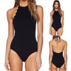 Women's High Neck Backless Scalloped Trim One Piece Halter Swimsuit