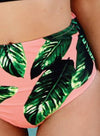 Women's Striped Top High Waist Bottom Bikini Swimwear