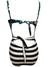 Women's Hot Detachable Shoulder Strap Leaf Stripe Bikini Swimwear