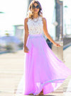 Pin Hot Sleeveless Lace Chiffon Evening Dress